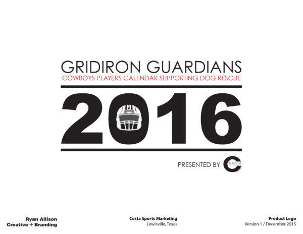 2016 Gridiron Guardians Calendar Product Logo for Costa Sports Marketing - Logo - Ryan Allison Creative + Branding