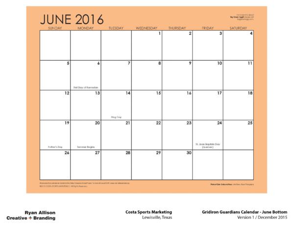 Costa Sports Marketing Gridiron Guardians Calendar June Bottom - Project - Ryan Allison Creative + Branding