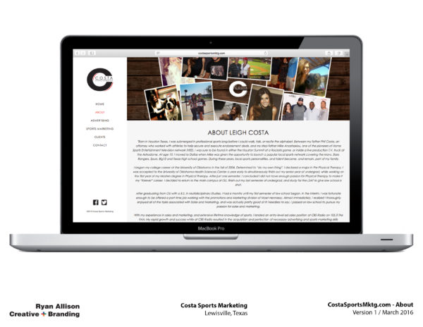 Costa Sports Marketing Website About - Project - Ryan Allison Creative + Branding