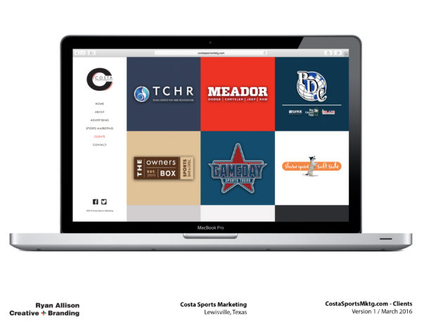 Costa Sports Marketing Website Clients - Project - Ryan Allison Creative + Branding