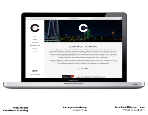 Costa Sports Marketing Website Home - Project - Ryan Allison Creative + Branding