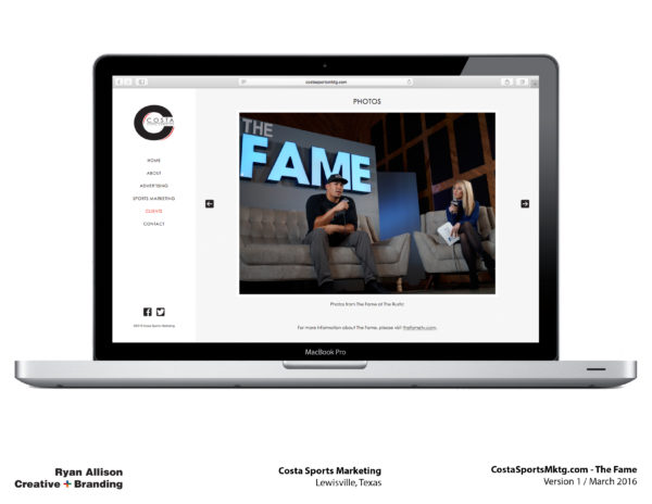 Costa Sports Marketing Website The Fame - Project - Ryan Allison Creative + Branding