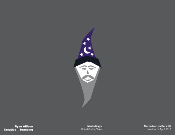 Media Magic Merlin Icon on Dark BG - Logo - Ryan Allison Creative + Branding