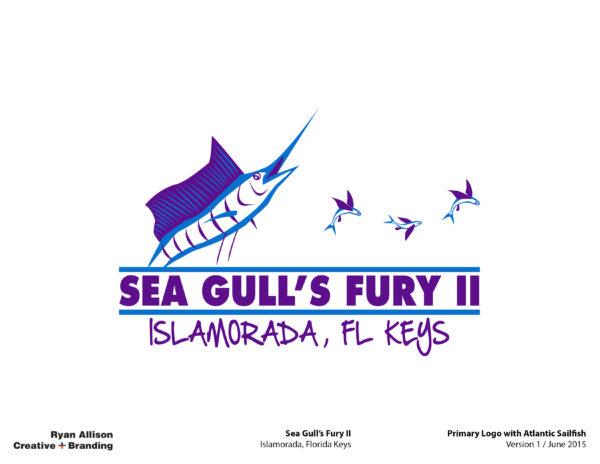 Sea Gull's Fury II Primary Logo with Atlantic Sailfish - Logo - Ryan Allison Creative + Branding