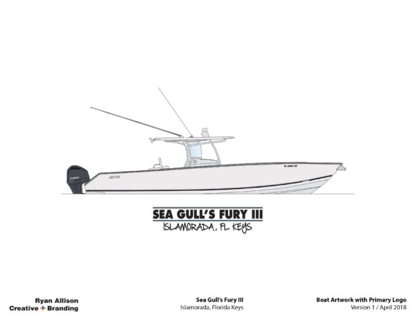 Sea Gull's Fury III Boart Artwork with Primary Logo - Logo - Ryan Allison Creative + Branding