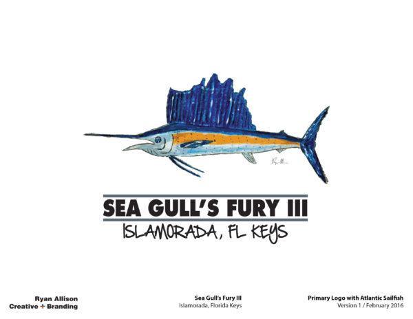 Sea Gull's Fury III Primary Logo with Atlantic Sailfish - Logo - Ryan Allison Creative + Branding