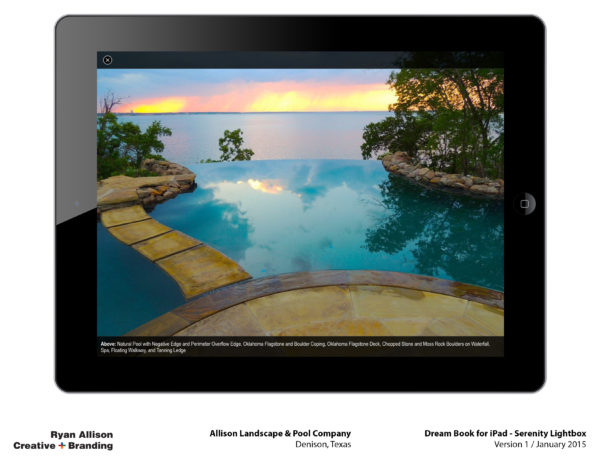 Allison Pools Dream Book for iPad Serenity Lightbox - Project - Ryan Allison Creative + Branding