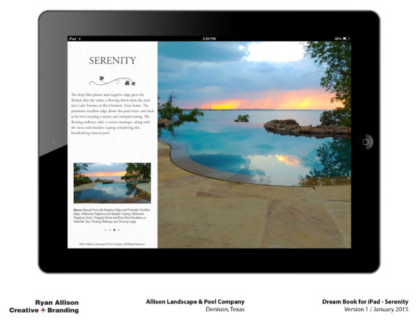 Allison Pools Dream Book for iPad Serenity - Project - Ryan Allison Creative + Branding