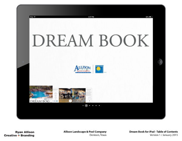 Allison Pools Dream Book for iPad Table of Contents - Project - Ryan Allison Creative + Branding