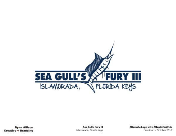 Sea Gull's Fury III Alternate Logo with Atlantic Sailfish - Logo - Ryan Allison Creative + Branding