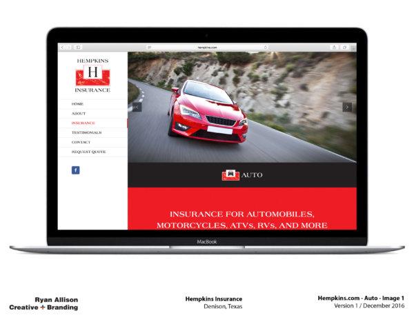 Hempkins Insurance Website Auto 1 - Project - Ryan Allison Creative + Branding