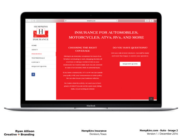 Hempkins Insurance Website Auto 2 - Project - Ryan Allison Creative + Branding