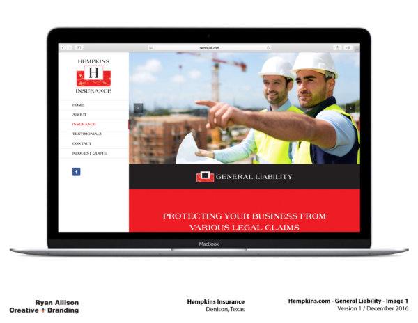 Hempkins Insurance Website General Liability 1 - Project - Ryan Allison Creative + Branding