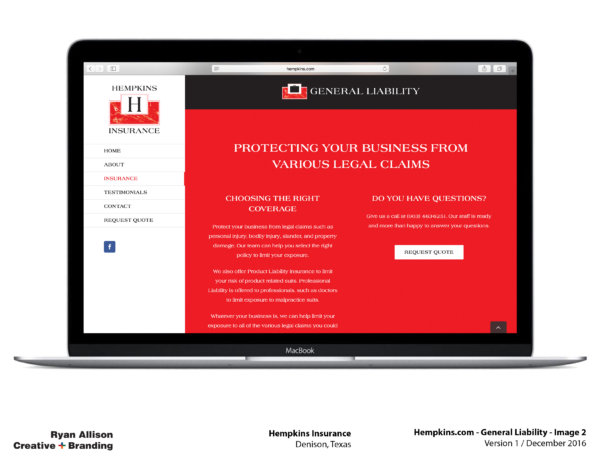 Hempkins Insurance Website General Liability 2 - Project - Ryan Allison Creative + Branding