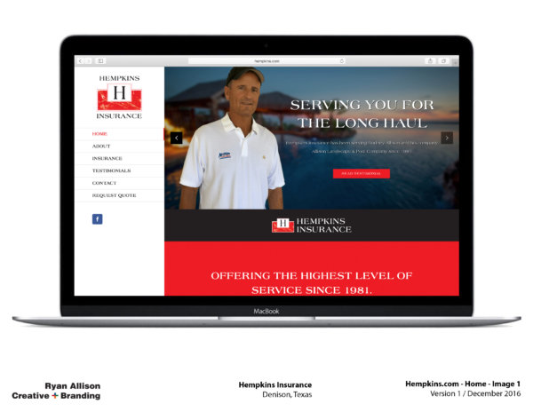 Hempkins Insurance Website Home 1 - Project - Ryan Allison Creative + Branding