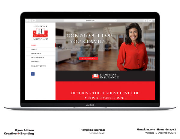 Hempkins Insurance Website Home 2 - Project - Ryan Allison Creative + Branding