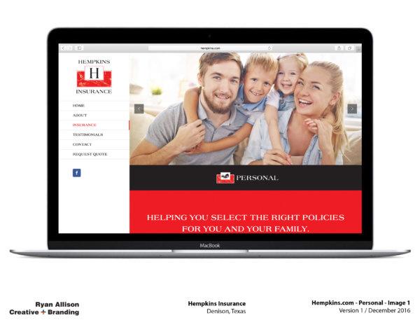 Hempkins Insurance Website Personal 1 - Project - Ryan Allison Creative + Branding