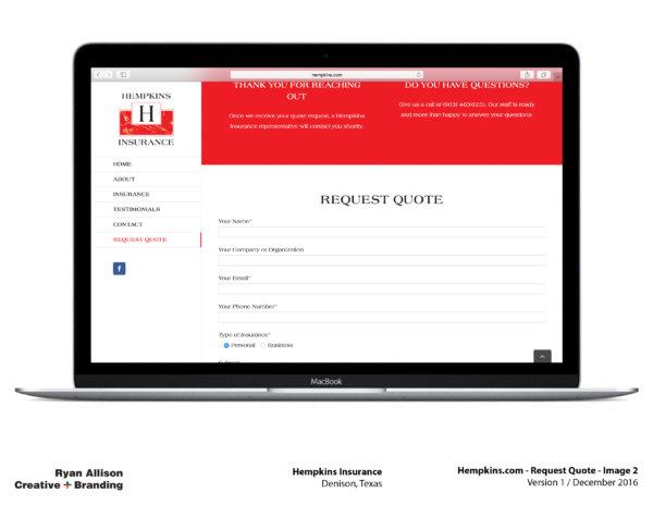 Hempkins Insurance Website Request Quote 1 - Project - Ryan Allison Creative + Branding