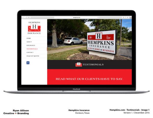 Hempkins Insurance Website Testimonials 1 - Project - Ryan Allison Creative + Branding