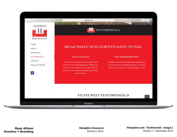 Hempkins Insurance Website Testimonials 2 - Project - Ryan Allison Creative + Branding