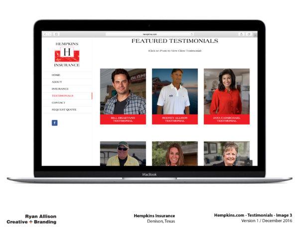 Hempkins Insurance Website Testimonials 3 - Project - Ryan Allison Creative + Branding