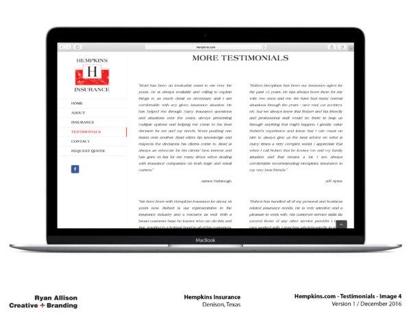 Hempkins Insurance Website Testimonials 4 - Project - Ryan Allison Creative + Branding