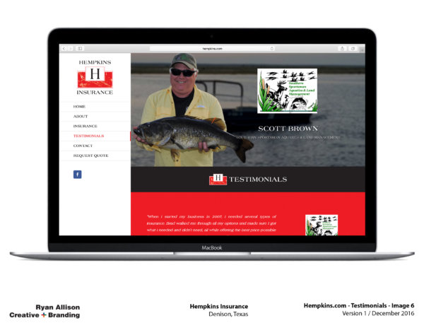 Hempkins Insurance Website Testimonials 6 - Project - Ryan Allison Creative + Branding