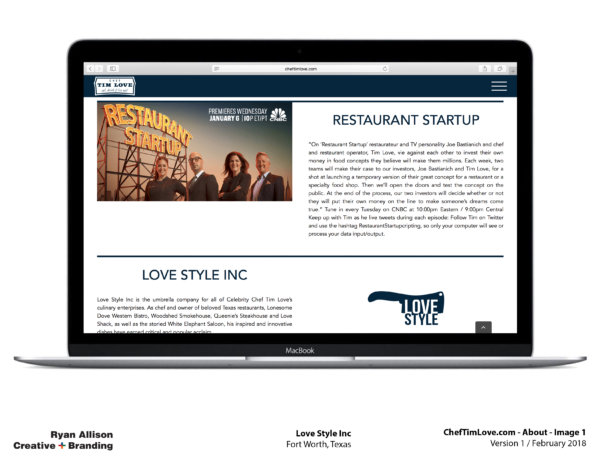Love Style Inc Chef Tim Love Website About 1 - Project - Ryan Allison Creative + Branding