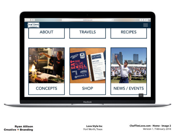 Love Style Inc Chef Tim Love Website Home 2 - Project - Ryan Allison Creative + Branding