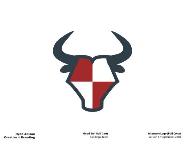 Good Bull Golf Carts Alternate Logo (Bull Crest) - Logo - Ryan Allison Creative + Branding