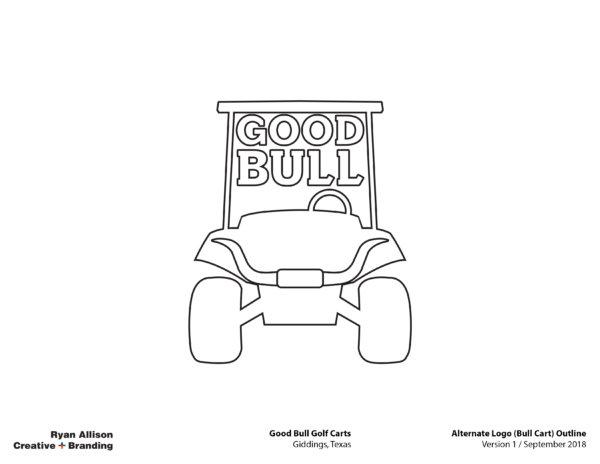 Good Bull Golf Carts Alternate Logo (Bull Cart) Outline - Logo - Ryan Allison Creative + Branding