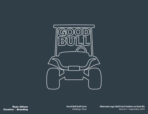 Good Bull Golf Carts Alternate Logo (Bull Cart) Outline on Dark BG - Logo - Ryan Allison Creative + Branding