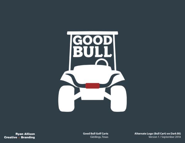 Good Bull Golf Carts Alternate Logo (Bull Cart) on Dark BG - Logo - Ryan Allison Creative + Branding