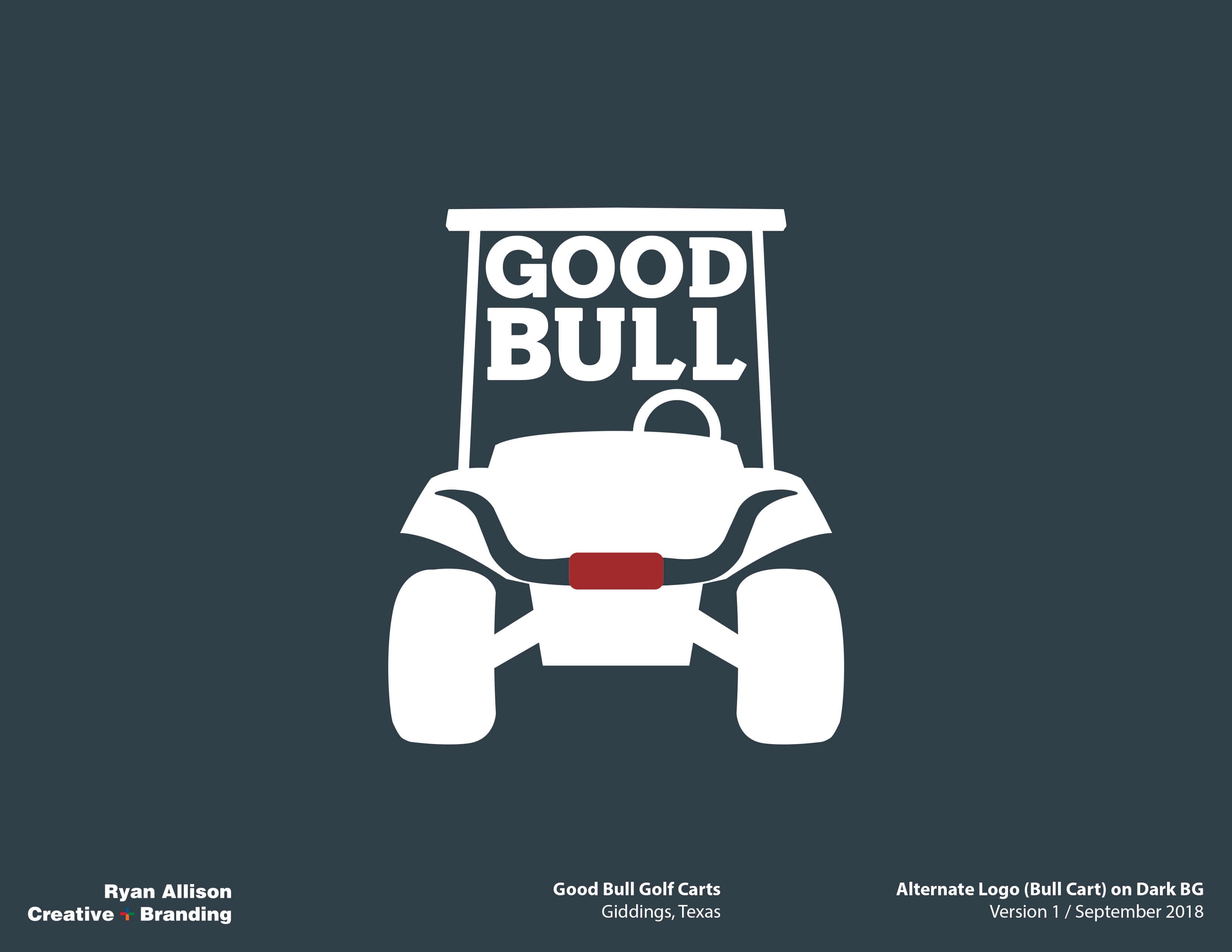 Good Bull Golf Carts Alternate Logo Bull Cart On Dark Bg Logo Ryan Allison Creative Branding Ryan Allison Creative Branding