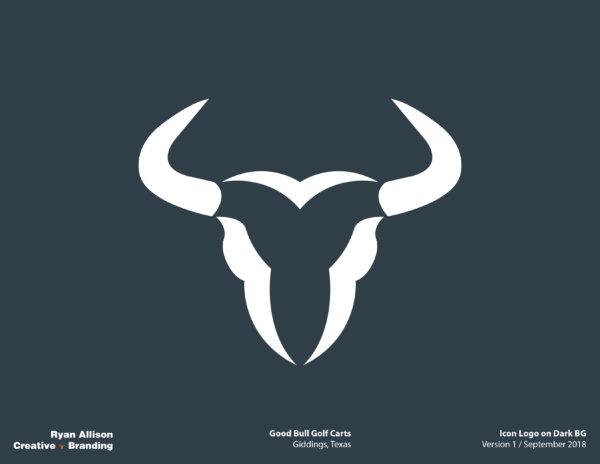 Good Bull Golf Carts Icon Logo on Dark BG - Logo - Ryan Allison Creative + Branding