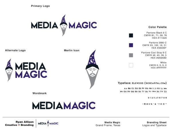 Media Magic - Branding Sheet Page 1 - Ryan Allison Creative + Branding